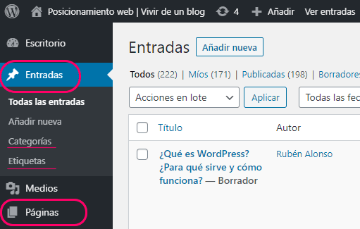 Entradas y páginas de WordPress