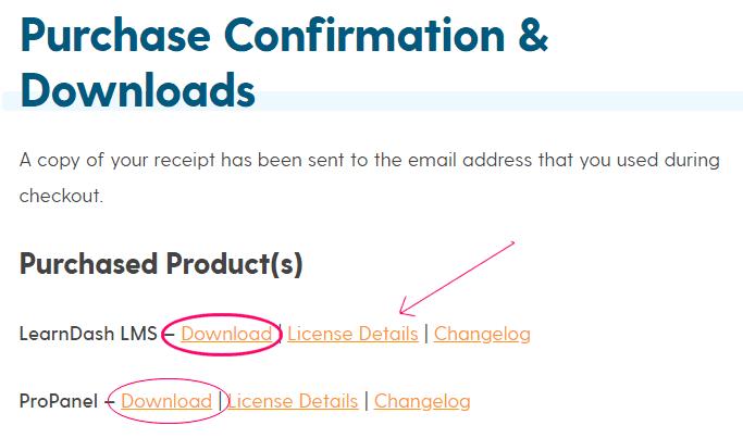 Página de descarga de LearnDash y licencia