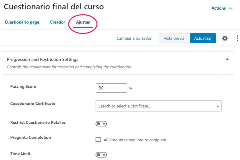 Ajustes del cuestionario online en LearnDash