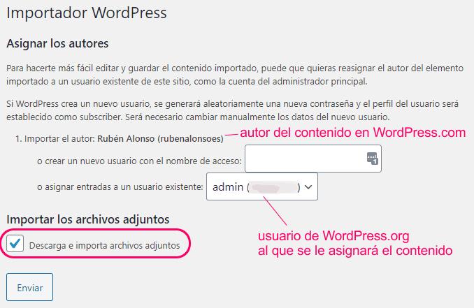 Asignar el contenido a importar a un usuario de WordPress.org