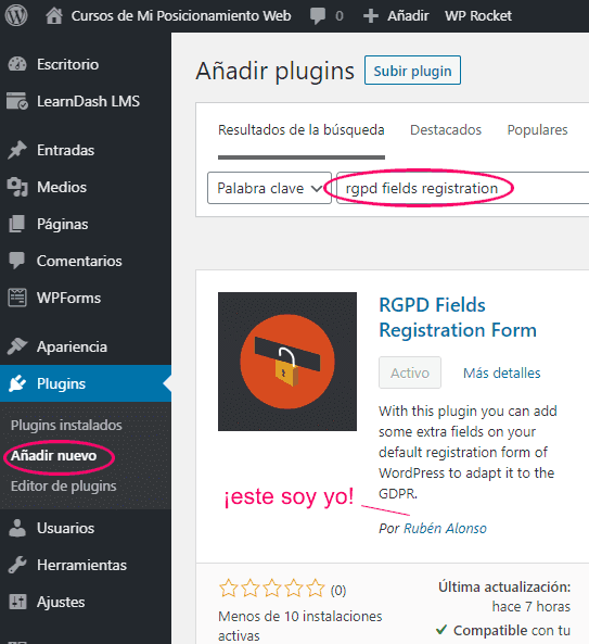 Buscar e instalar el plugin RGPD Fields Registration Form