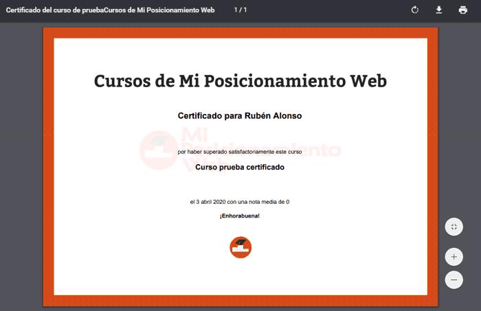 Certificado online que se da con LearnDash