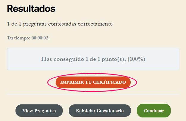 Cuestionario de prueba para ver el certificado en LearnDash