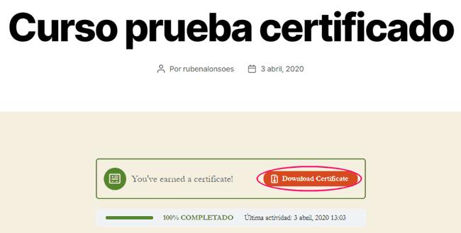 Curso de prueba para ver el certificado en LearnDash