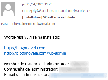 Datos de acceso al WordPress instalado por defecto