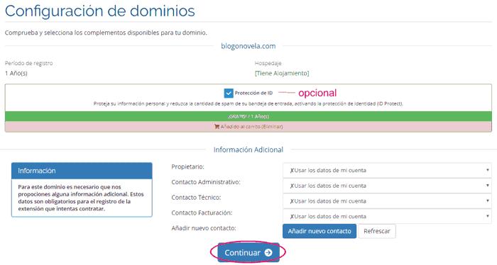 Datos del nuevo dominio