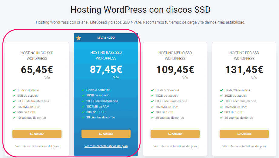 Elegir el plan de hosting para WordPress.org