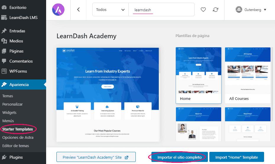 Importar plantilla LearnDash Academy de Astra
