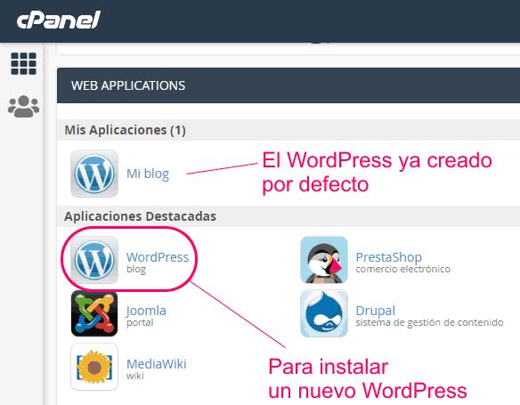 Instalar un nuevo WordPress desde el cPanel del hosting