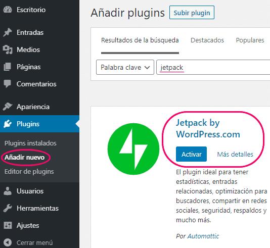 Instalar y activar Jetpack de WordPress.com