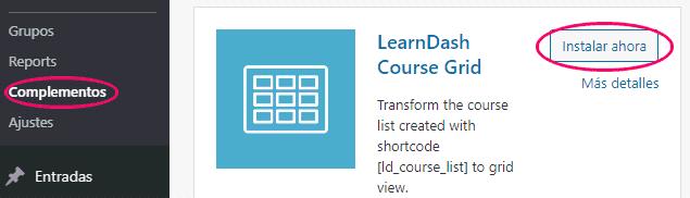 Instalar y activar complemento Course Grid para LearnDash
