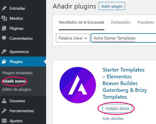 Instalar y activar plugin Starter Templates de Astra