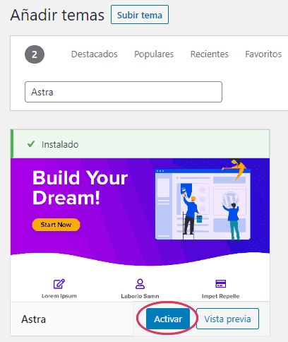Instalar y activar tema Astra para LearnDash