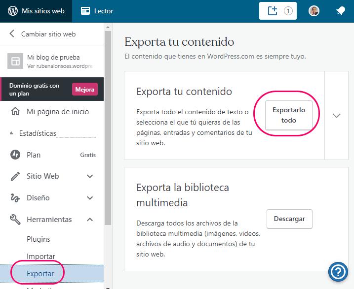 Menú exportar de WordPress.com