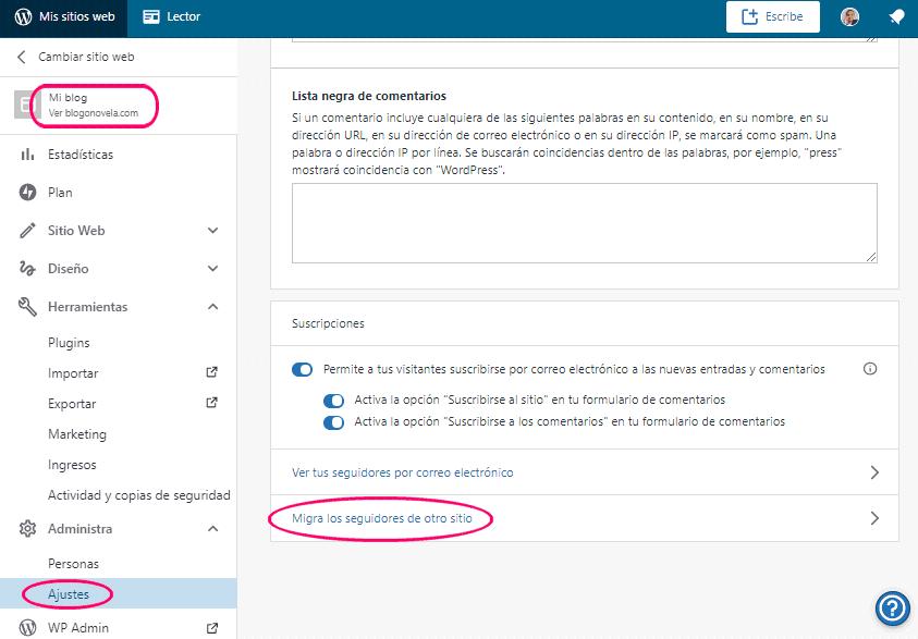 Migrar seguidores del WordPress.com