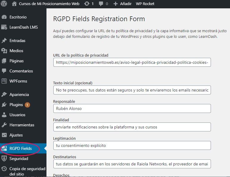 Opciones del plugin RGPD Fields Registration Form