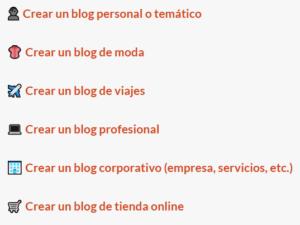 Elige el tipo de blog que quieres crear