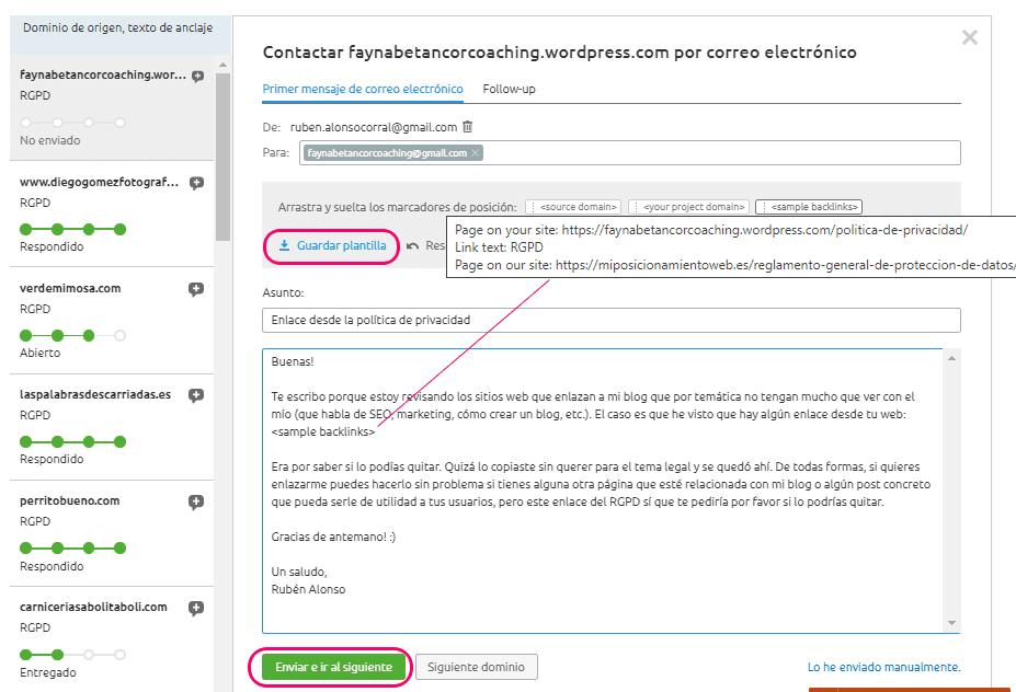 Enviar plantilla de email para que quiten el enlace