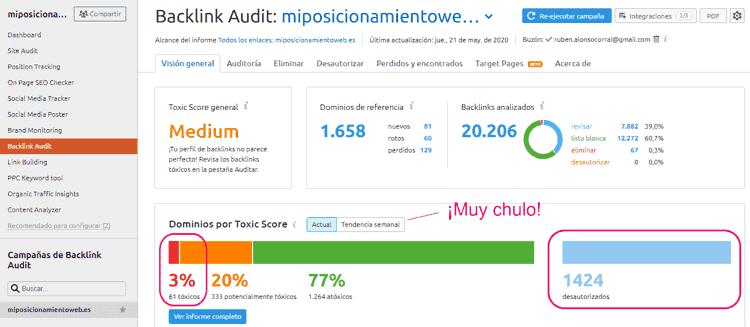 Resumen del backlink auditor