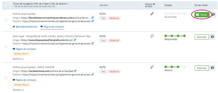 Tabla de dominios a contactar para que quiten el enlace