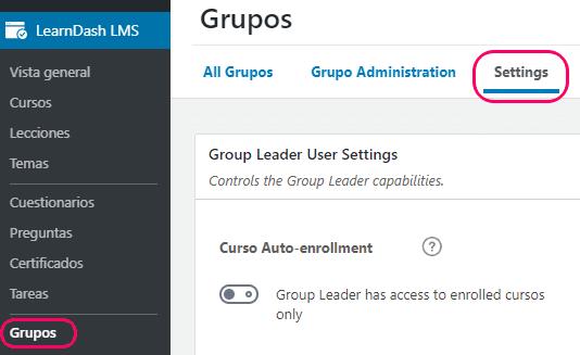 Ajustes generales de los grupos membresías en LearnDash