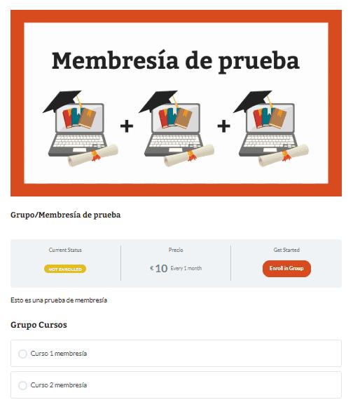 Página pública de la membresía