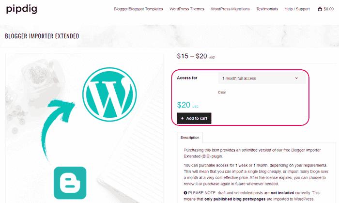 Comprar el plugin Blogger Importer Extended de WordPress