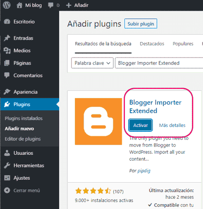 Instalar y activar plugin Blogger Importer Extended de WordPress