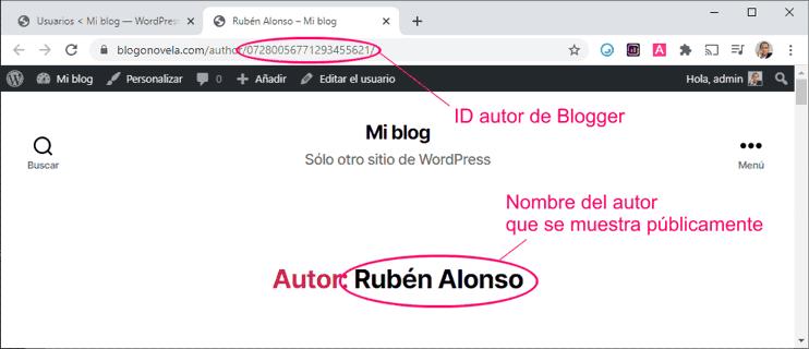 Nombre público del autor importador de Blogger