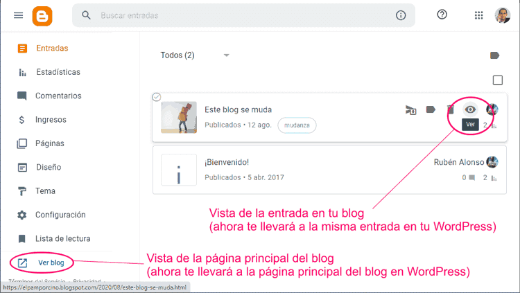 Revisar redirecciones de URLs de Blogger