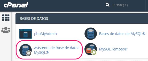 Asistente de base de datos de cPanel