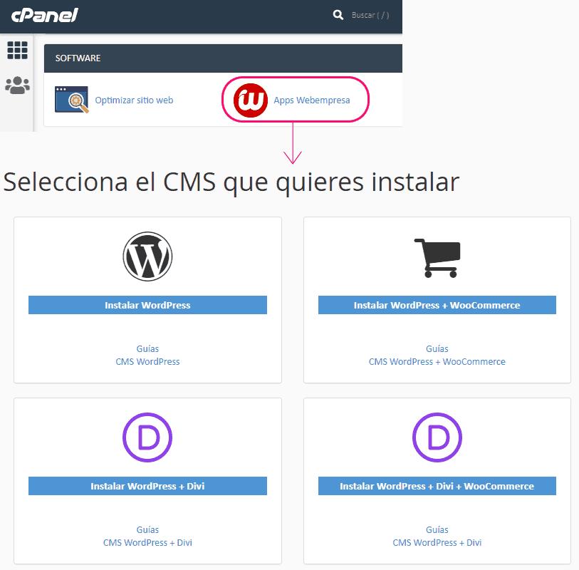 Asistente de instalación automática de WordPress en Webempresa
