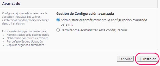 Configuración avanzada del WordPress a instalar