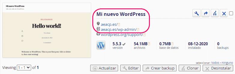 Instalación automática de WordPress completada