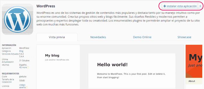 Instalar WordPress de forma automática