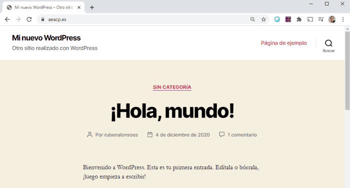 Nuevo sitio creado con WordPress