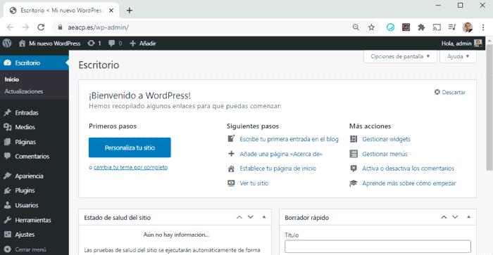 Panel de control del nuevo sitio creado con instalador de WordPress