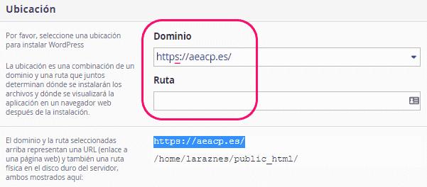 Ubicación del WordPress a instalar
