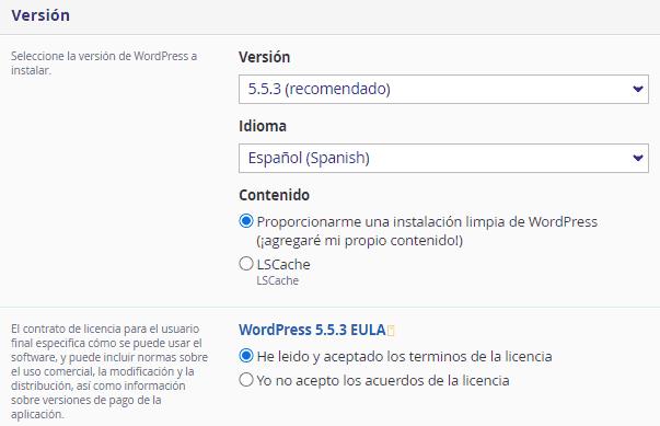 Versión del WordPress a instalar