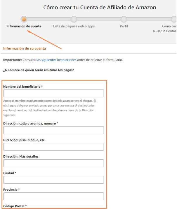 información personal cuenta de amazon afiliados