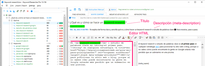 Editor de contenido de keyword researcher pro