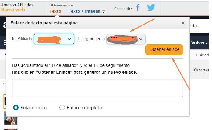 crear enlace de afiliado en Amazon