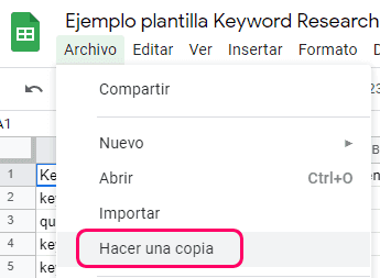 Hacer una copia de la plantilla de keyword research