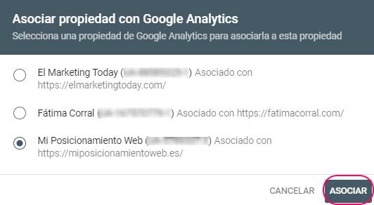Asociación de la propiedad de Search Console con Google Analytics