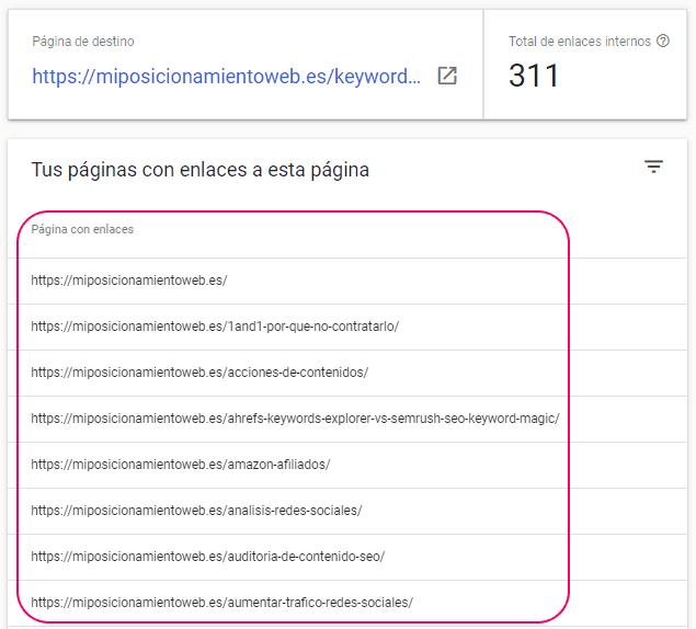 Informe de páginas internas que enlazan a la página en Search Console