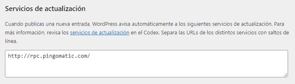 Configuración de servicios de actualización en WordPress activado
