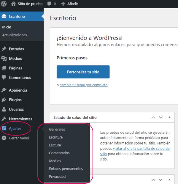 Configurar los ajustes de wordpress