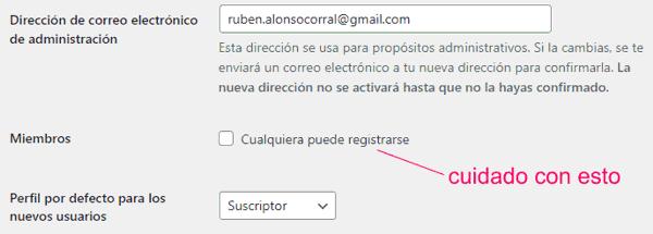 Email principal y registro de usuarios en WordPress