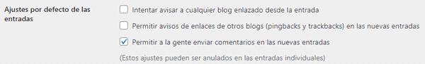 Ajustes por defecto de las entradas de WordPress