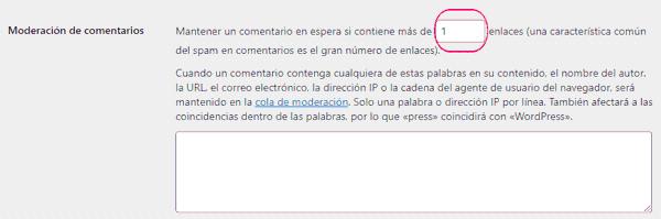 Moderación de los comentarios de WordPress por enlaces y texto